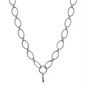 Picture of Silver Textured Oval Link Chain - 32""