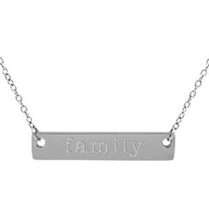 Picture of Silver 'Family' Bar Necklace - 16""