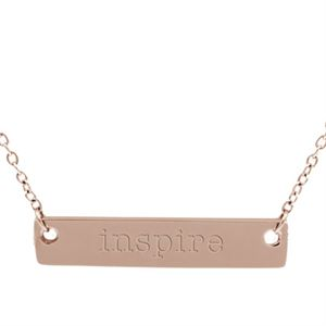 Picture of Rose Gold 'Inspire' Bar Necklace - 16""